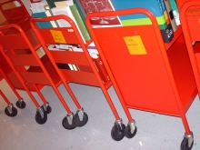 """""""Red Book Carts"""" by Cybrgirl on Flickr Creative Commons. We used book carts to move our stuff!"""
